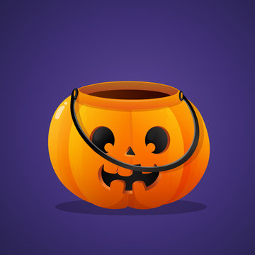 Halloween pumpkin basket empty isolated on violet background.