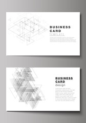 The minimalistic abstract vector illustration of editable layout of two creative business cards design templates. Polygonal background with triangles, connecting dots and lines. Connection structure.