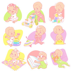 Set with cute little baby Toddler girl with different toys. Child's activities. Baby read, sleep, play, walk, sit on potty. One year girl, pink pajamas. Design for mom's blog. Vector illustration