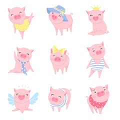 Cute pink pigs vector set. Symbol of 2019 on the Chinese calendar.