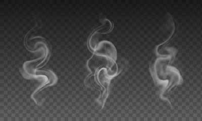 Fotobehang Rook Vector set of realistic transparent smoke effects