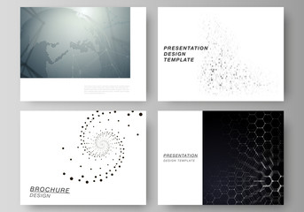 The minimalistic abstract vector illustration of the editable layout of the presentation slides design business templates. Technology, science, future concept abstract futuristic backgrounds.