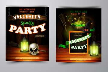 Halloween party invitation on wooden wall background