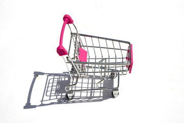 shopping cart isolated on white background, close up
