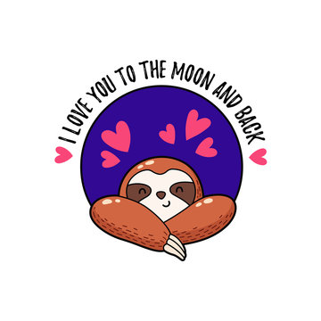 Vector illustration. Lovely cartoon sloth. Logo Icon. Template for printing, postcards, covers, textiles, clothes