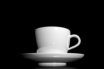 3d Illustration coffee cup on a dark background