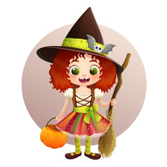 Cute little girl in Halloween witch costume with pumpkin basket and broom. Brown circle and white background. Vector illustration.