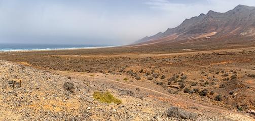Volcanic hills over Cofete Beach in Fuerteventura, Canary Islands