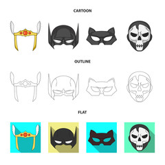 Isolated object of hero and mask icon. Set of hero and superhero vector icon for stock.