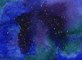 Abstract space watercolor background, Watercolor galaxy painting, Hand painted illustration.