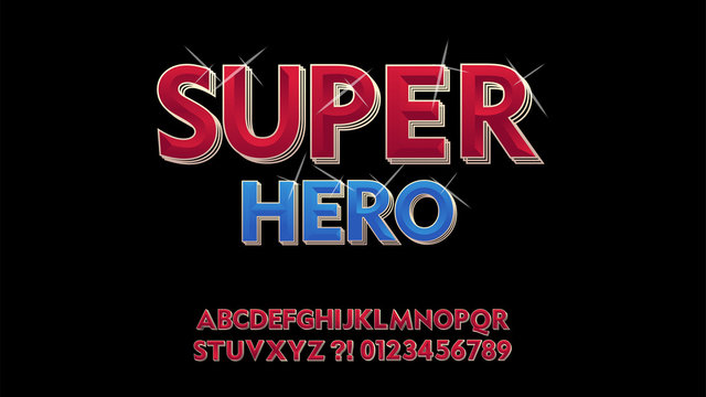 Vector superhero retro stylish. Cool Font. shining 3D Alphabet Letters, Numbers and Symbols