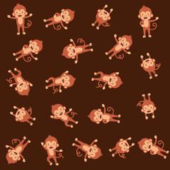 cute monkeys pattern background