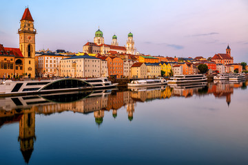 Historical Old Town Passau on Danube river, Bavaria, Germany