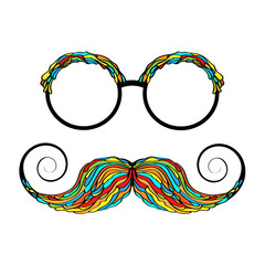 Man glass and mustache colorful image.
