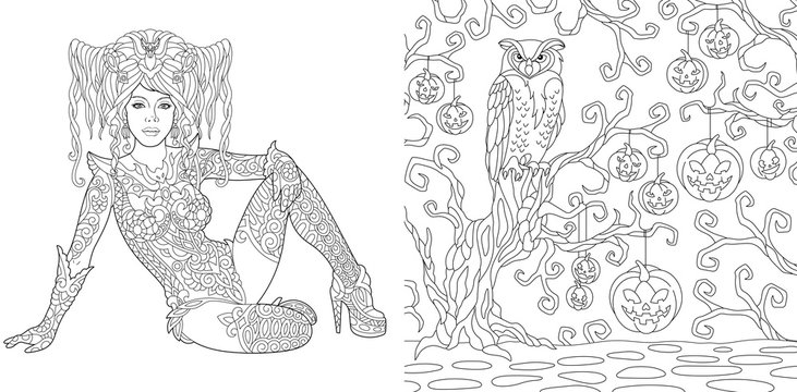 Halloween coloring pages with witch girl and owl