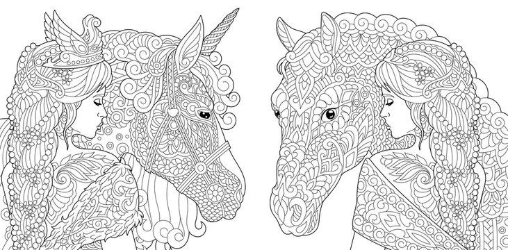 Fantasy coloring pages with pretty girls, horse, magic unicorn
