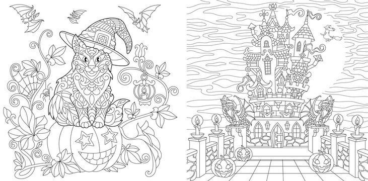 Halloween coloring pages with cat on pumpkin, bats, horror spooky castle at night