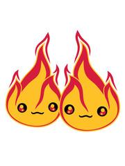 2 freunde team paar liebe pärchen verliebt gesicht süß niedlich klein comic cartoon feuer flamme heiß brennen verbrennen warm lagerfeuer löschen flammen anzünden feuerteufel