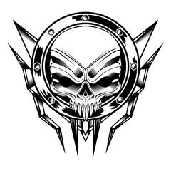 skull circle ornament vector illustration