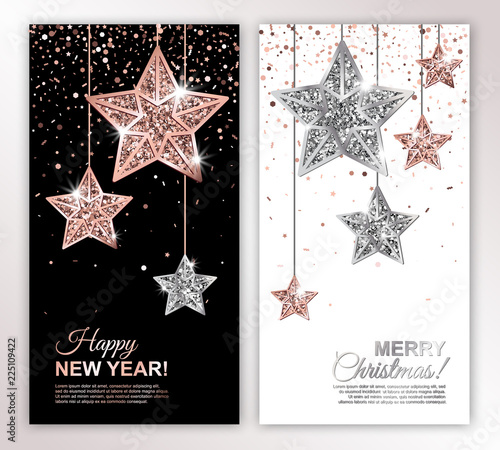 happy new year and merry christmas vertical banners set with rose gold and silver hanging stars