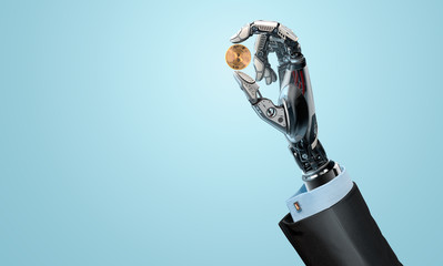 Mechanical artificial hand, Bitcoin in fingers, robotic arm holding coin, 3d