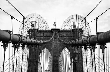 Brooklyn Bridge in monochrome , New York City, USA