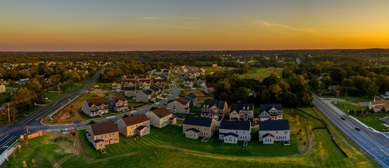 American single family homes at a new construction aerial view