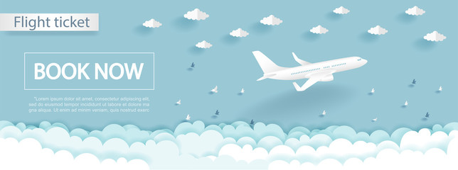 Travel and flight ticket advertising template with airplane in the sky, colorful background in paper cut style vector illustration.