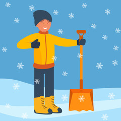 Happy man with a big winter shovel for snow to start cleaning the snow. Winter landscape with falling snowflakes. Flat design style. Vector illustration.