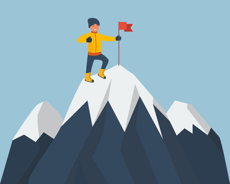 Climber standing on the top of mountain with a red flag. Young smiling mountaineer climbing on a rock. Vector cartoon illustration isolated on white background. Flat design style. Vector illustration