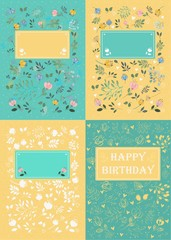 Greeting cards with graceful flowers