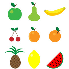 Cute bright colors of fruits vector collections. Set of fruits are apple, lemon, banana, orange, pear, pineapple, cherries, apricot, watermelon. Available in eps10. Isolated.
