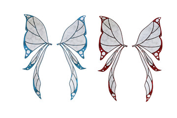 Pair of fantasy fairy butterfly wings isolated on white, 3d render.
