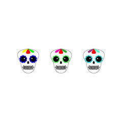 Vector illustration. Day of the dead poster, banner, card. Dia de los muertos icon on white background. Set of colourful sculls.