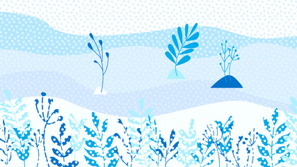 Winter leaves background template vector illustration flat design