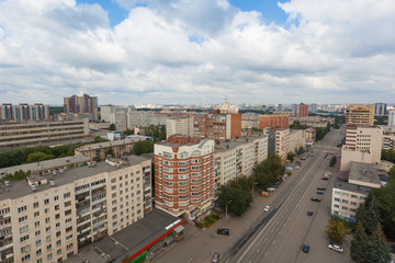 View of the city from the roof. Lenin Prospekt, Chelyabinsk, Russia