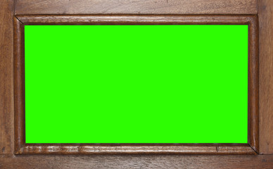 empty ancient wood frame or window and door on green screen for scene or panorama wide display and movie isolated included clipping path