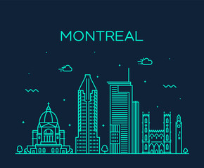 Wall Mural - Montreal city skyline Quebec Canada vector linear