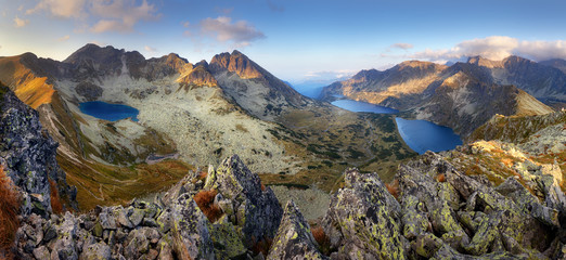 Landcape of mountain at sunset panorama from peak Hladky stit, Slovakia