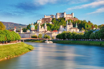 Panoramic view of Salzburg skyline with Festung Hohensalzburg and river Salzach, Salzburger Land, Austria Wall mural