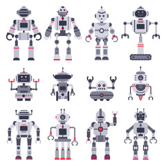 Flat robots. Electronic robot toys, cute chat bot mascot and robotic toy characters vector illustration set