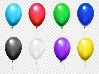 Colorful 3d glossy balloons. Birthday party or festival flying balloon vector set