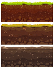 Seamless soil layers. Layered dirt clay, ground layer with stones and grass on dirts cliff texture vector pattern