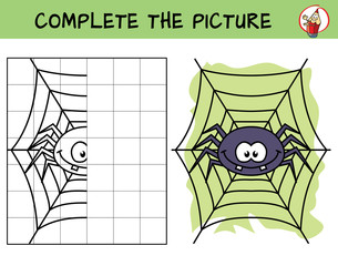Complete the picture of a funny spider. Copy the picture. Coloring book. Educational game for children. Cartoon vector illustration