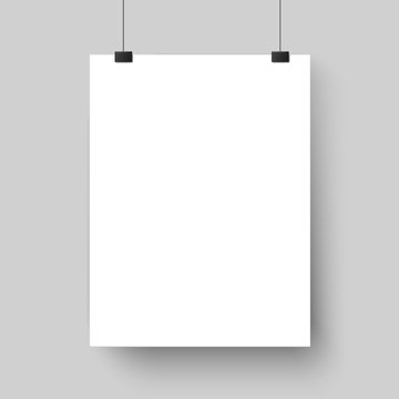 Blank white poster template. Affiche, paper sheet hanging on wall. Vector mockup