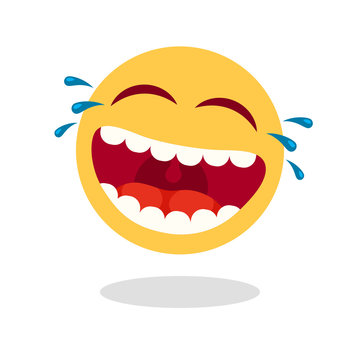 Laughing smiley emoticon. Cartoon happy face with laughing mouth and tears. Loud laugh vector icon