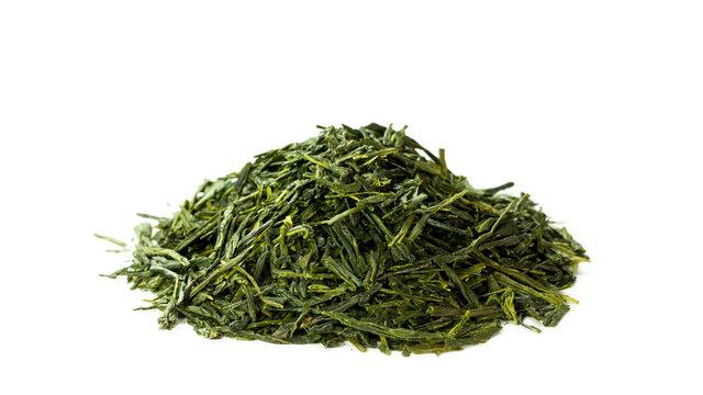 Green sencha tea isolated on white background