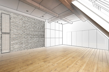 Loft conversion modern, empty (project)