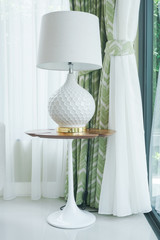 Modern classic style table lamp at corner of living room