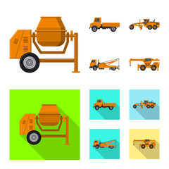 Isolated object of build and construction icon. Collection of build and machinery vector icon for stock.